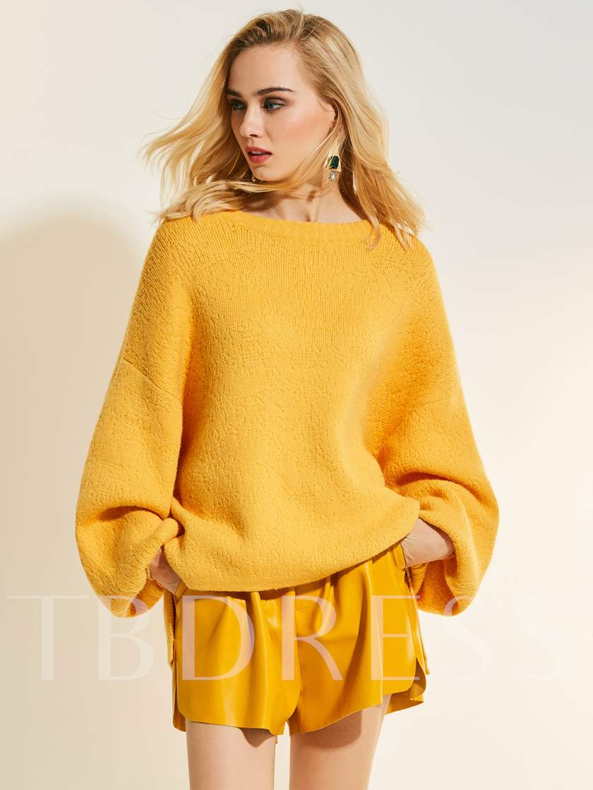 Loose Drop Sleeve Plain Women's Sweater