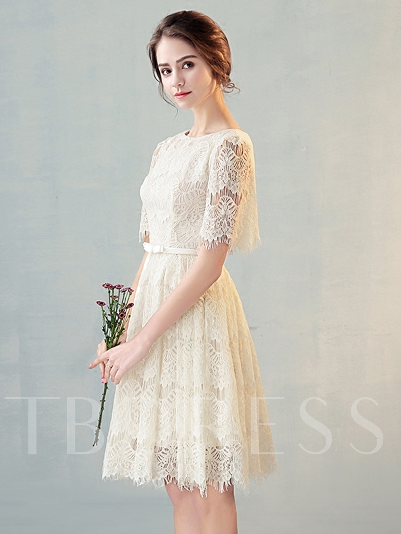 Scoop A-Line Lace Bowknot Lace Sashes Short Sleeves Knee-Length Homecoming Dress