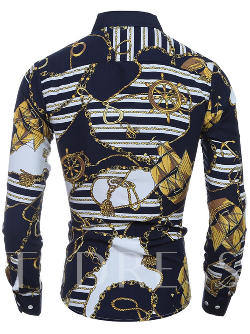 Lapel Vintage Printed Slim Men's Long Sleeve Shirt