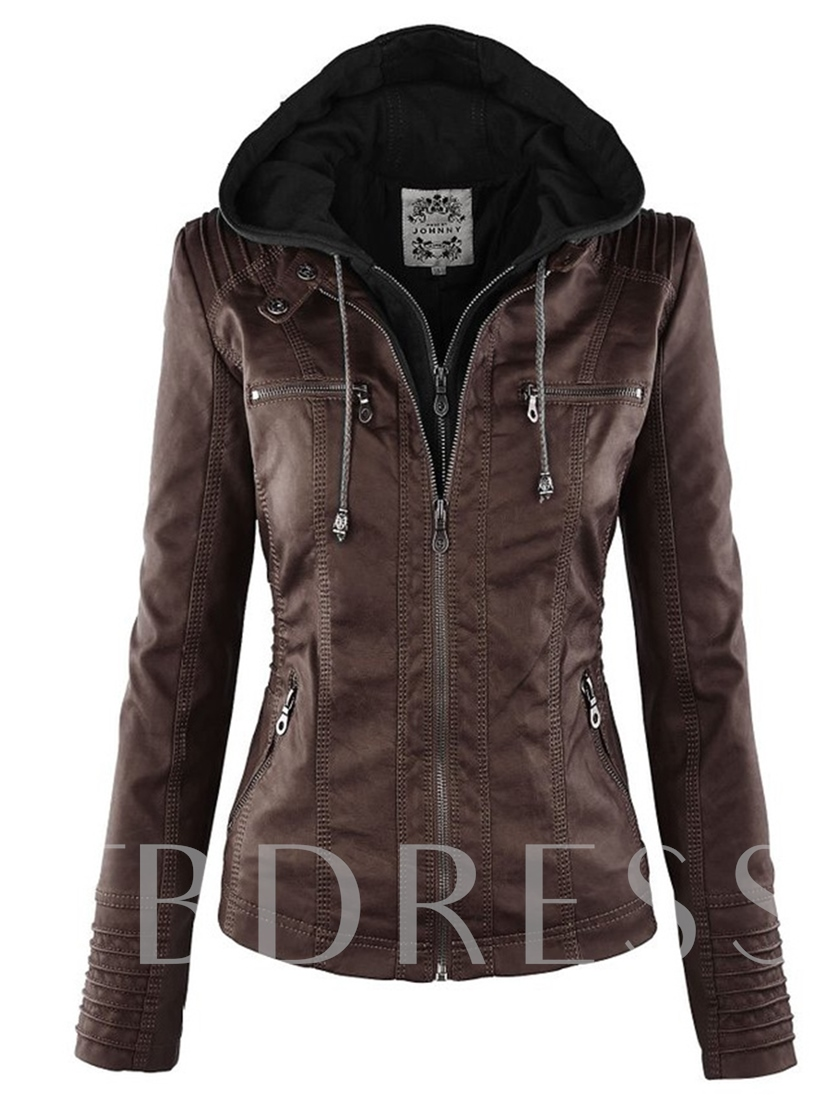 Plain Hooded Double-Layer Women's Jacket