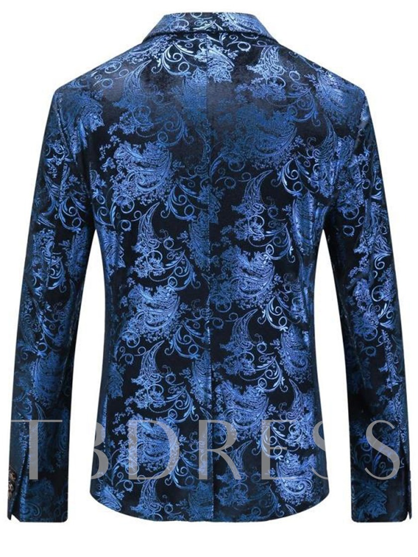 Notched Collar Double Button Classic Printed Slim Men's Leisure Blazer