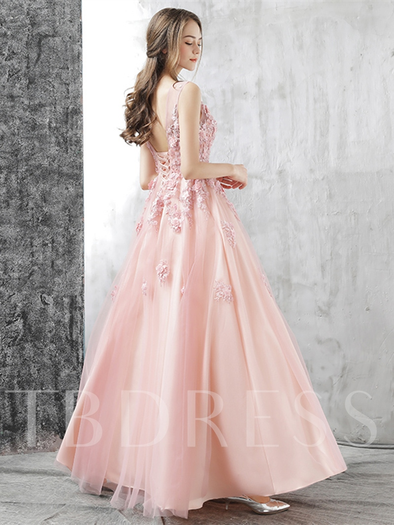A-Line Appliques Flowers Scoop Floor-Length Prom Dress