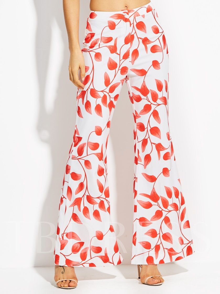 Elastics Plant Printing Vacation Loose Full Length Women's Pants