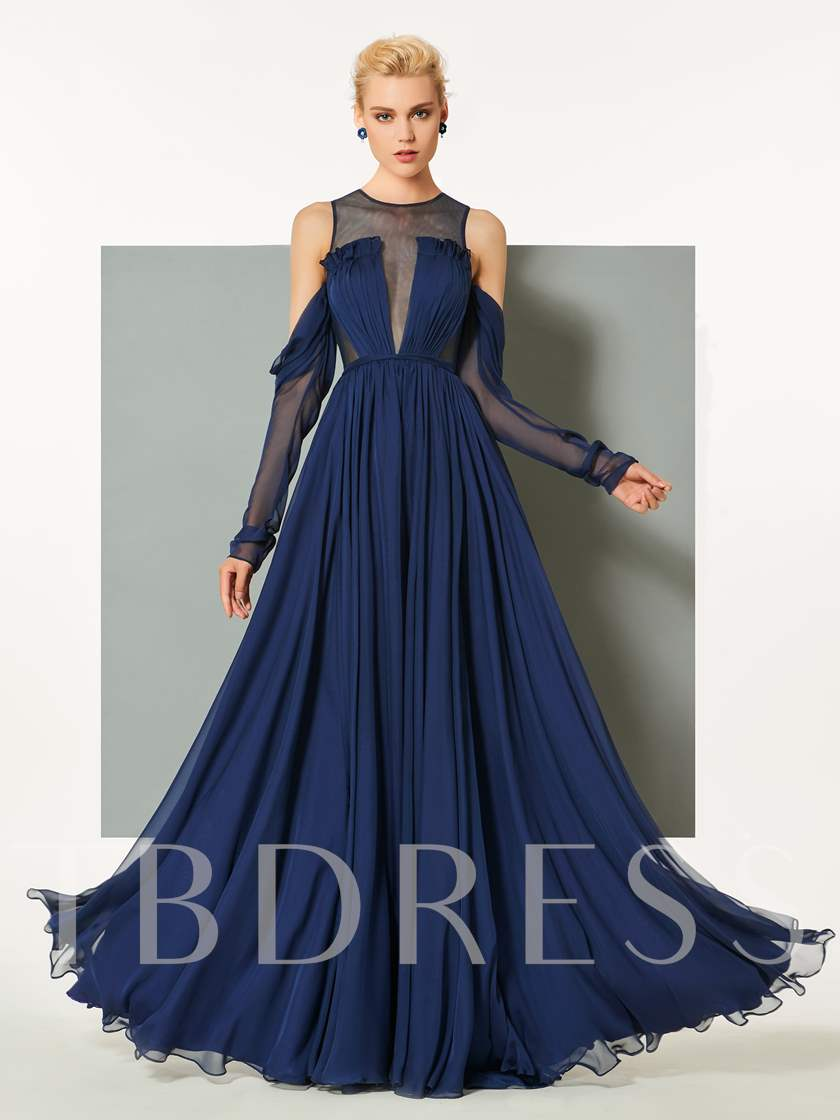 A-Line Button Scoop Ruched Long Sleeves Sweep Train Evening Dress