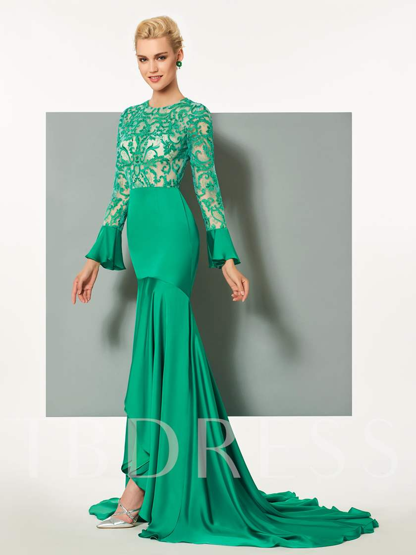 Jewel Mermaid Long Sleeves Scoop Button Lace Brush Train Evening Dress