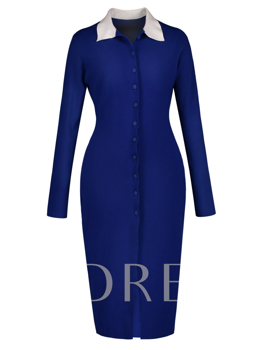 Blue Single-Breasted Women's Sweater Dress