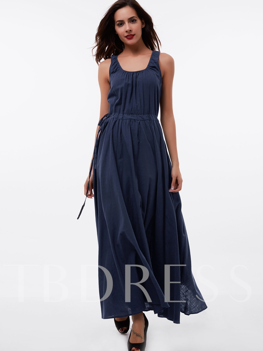 Plain Pleated Scoop Women's Maxi Dress