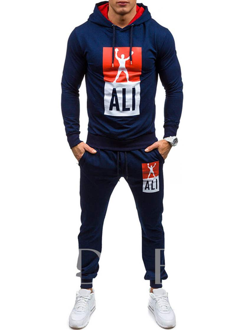 Hooded Printed Straight Men's Sport Suits