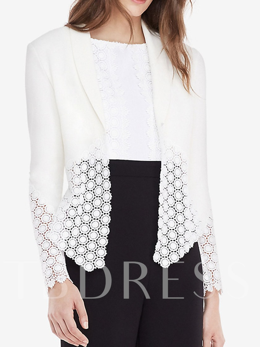 Lapel Hollow Lace Patchwork Slim Women's Blazer