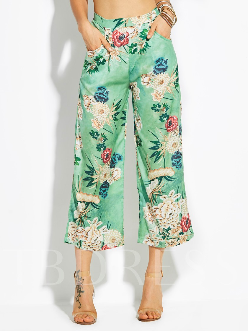 Flower Print Wide Legs Women's Pants