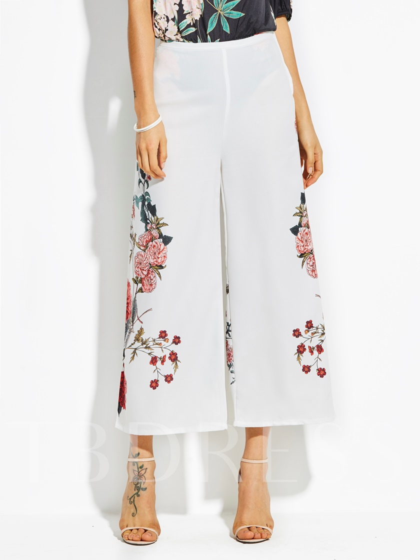 High-Waist Flower Print Wide Legs Vacation Women's Pants