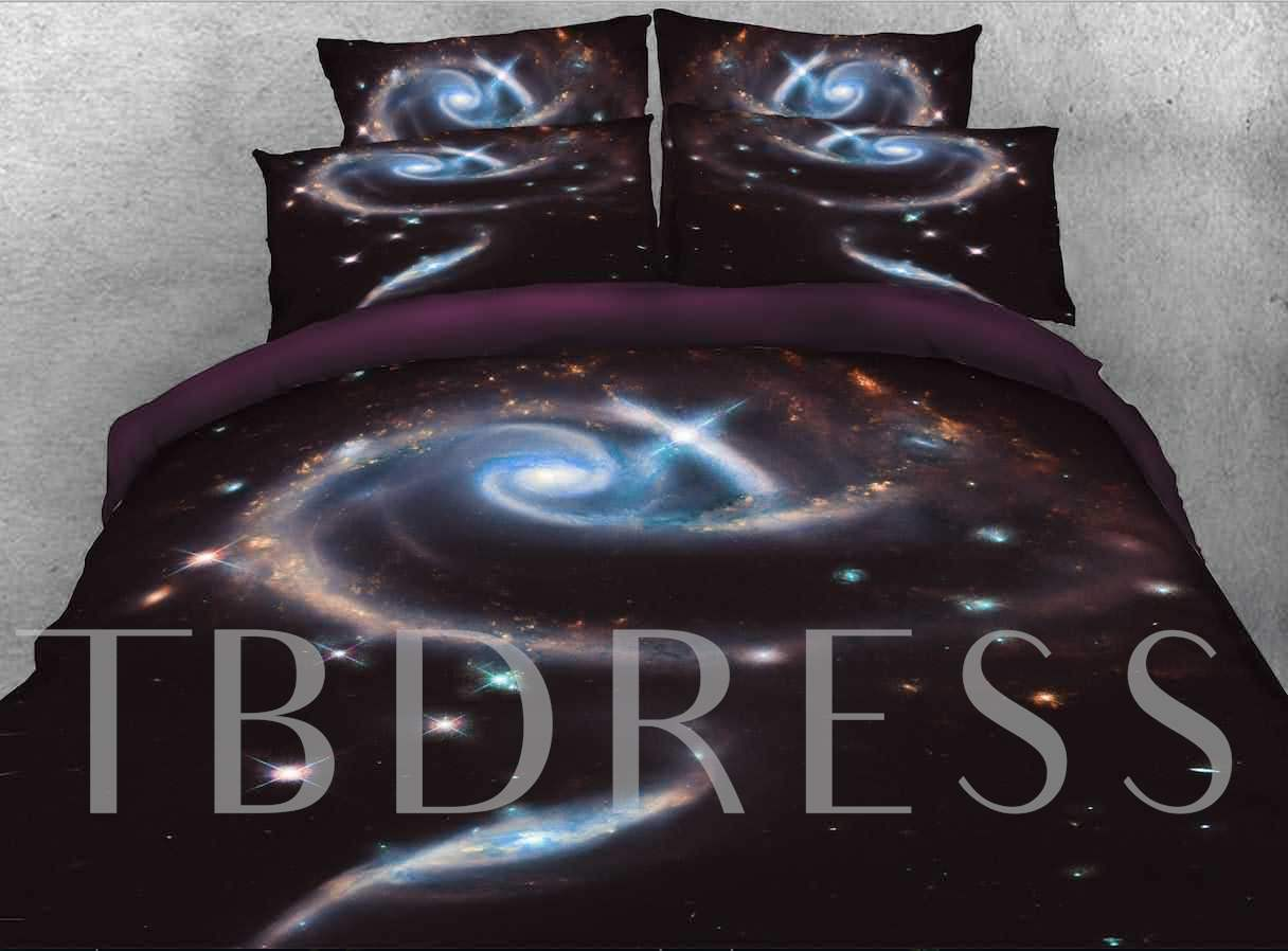 Spiral Galaxy Printed Cotton 4-Piece Black 3D Bedding Sets/Duvet Covers