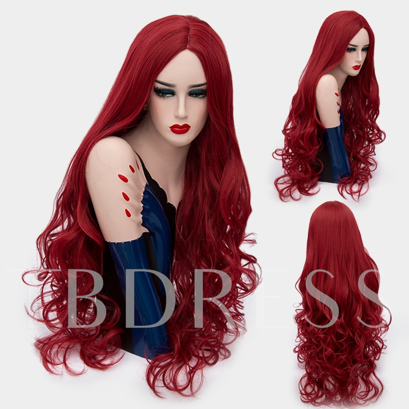 Long Blue Big Curly Mid Part Synthetic Hair Capless Cosplay Wigs 32 Inches (Average)