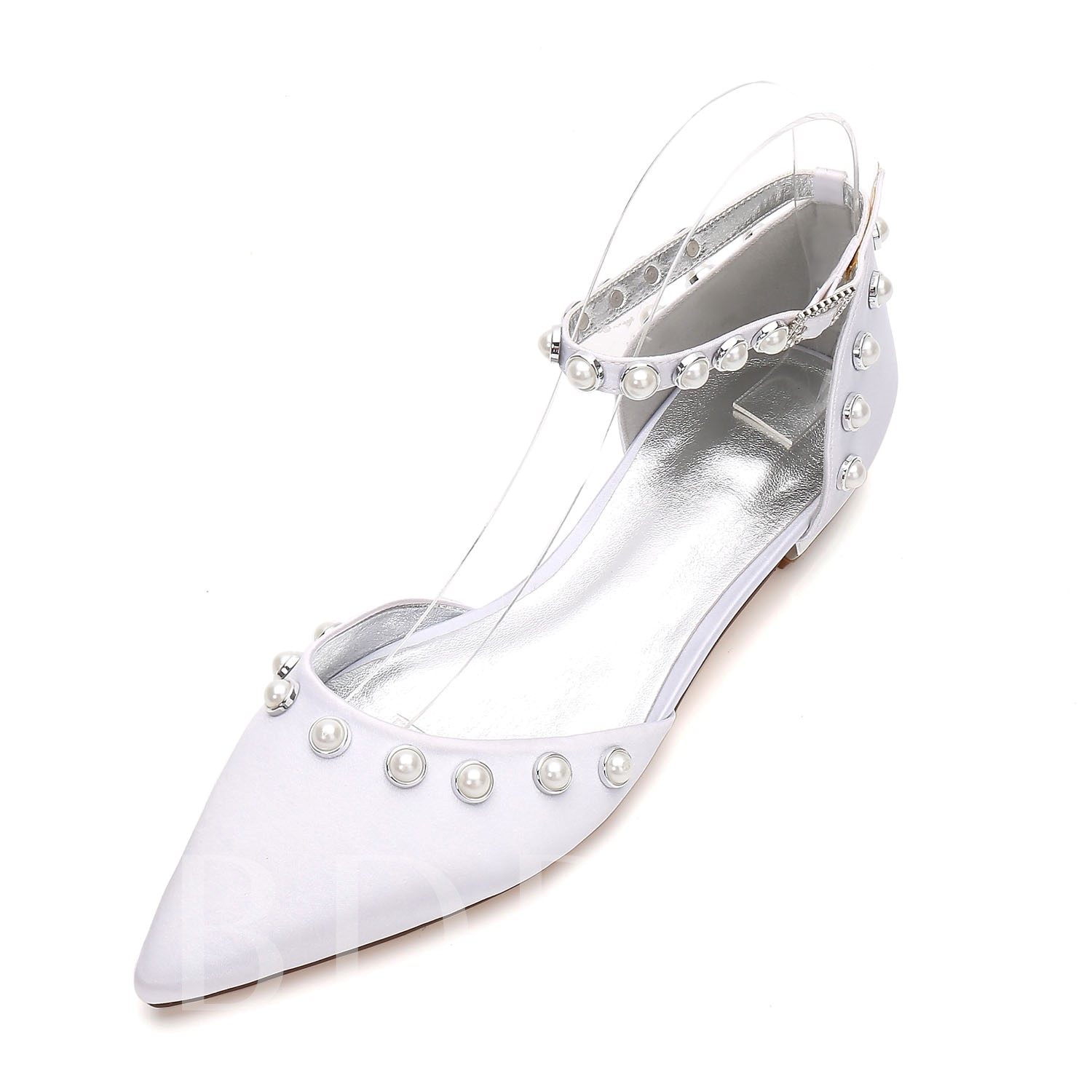 Line-Style Buckle Beads Block Heel Bridal Shoes