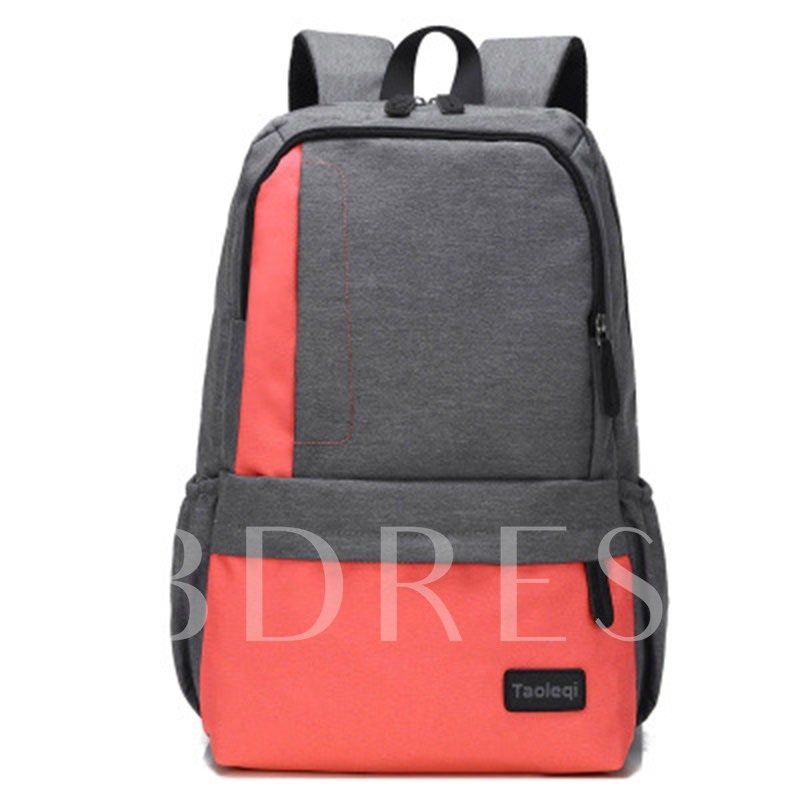 All Match Color Block Canvas Backpack