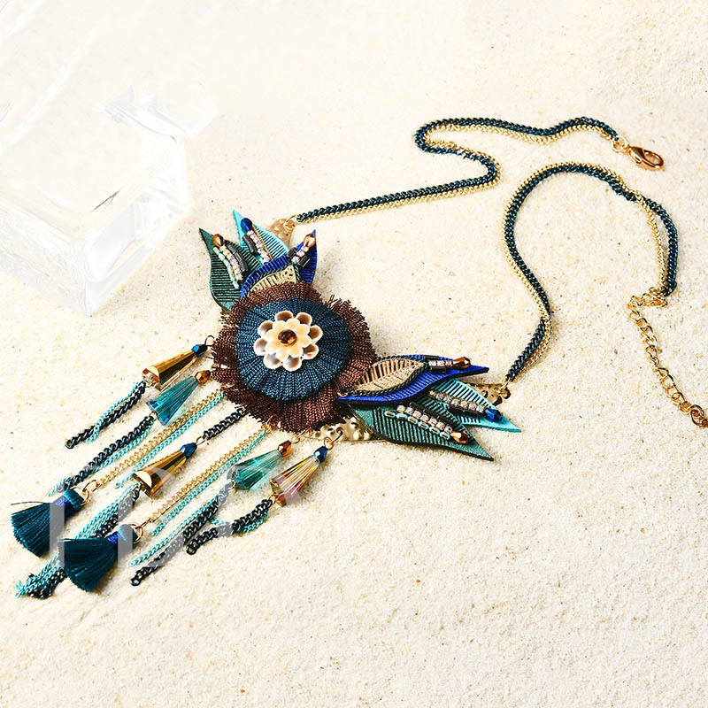 Color Blocking Tassel Leaf Flower Bohemian Necklace