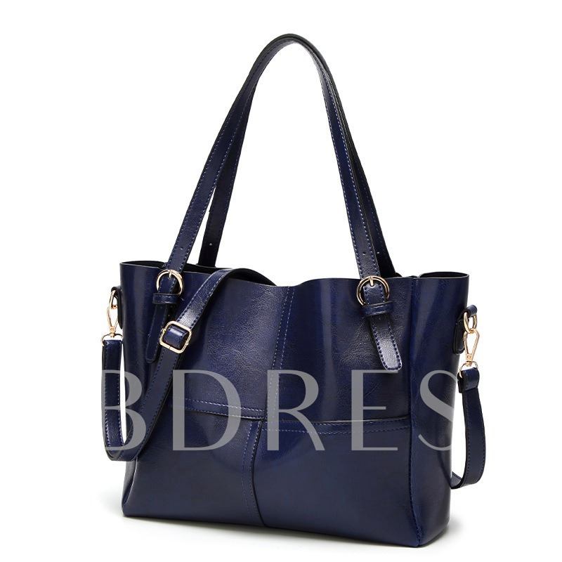 Solid Color Patchwork PU Zipper Handbag