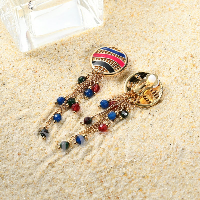 Colorful Round Alloy Link Chain Tassel Earrings