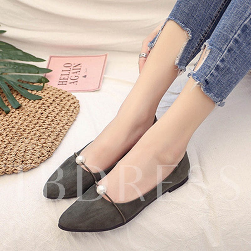 Sweet Shoes Block Heel Beads Slip-On Women's Flats