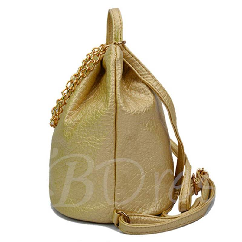 Chain Adornment Bucket Women Backpack