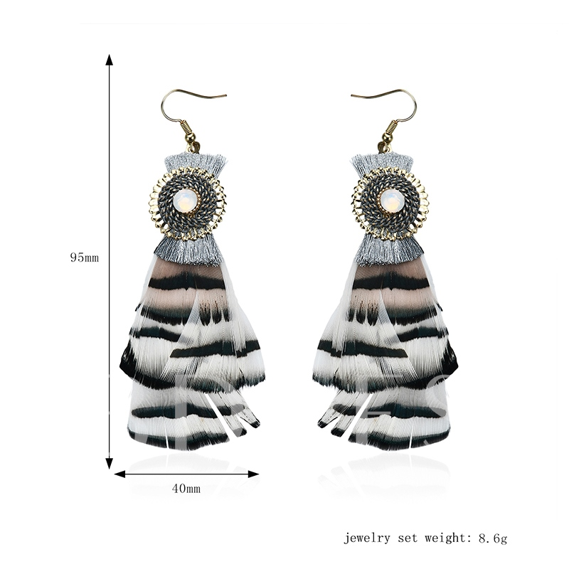 Alloy Feather Round Pearl Inlaid Earrings