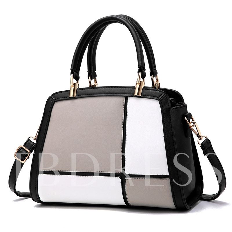 Graceful Color Block PU Tote