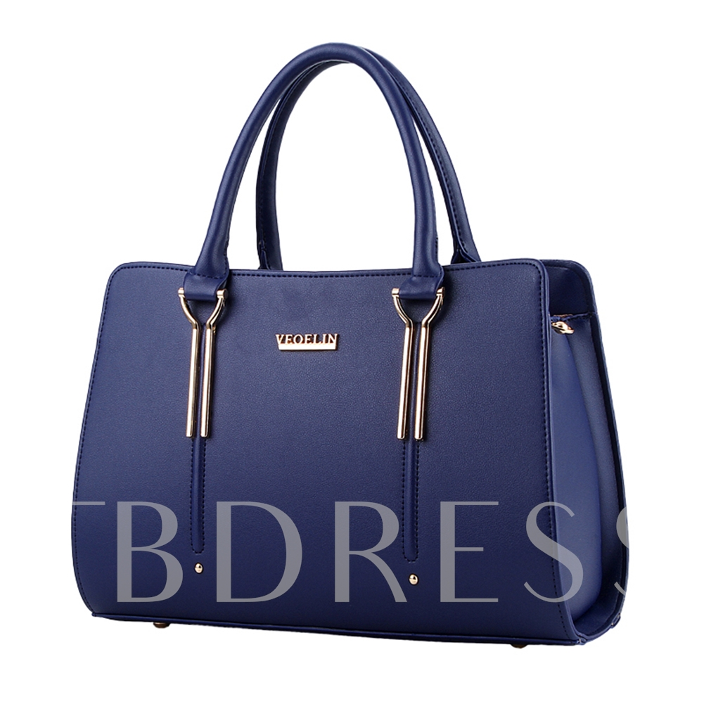 Ladylike Solid Color PU Women Tote Bag