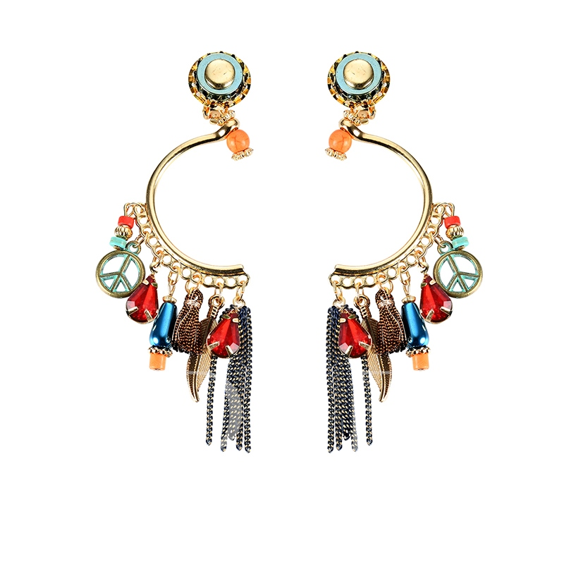 Colorful Semicircle Rhinestone Alloy Tassel Earrings