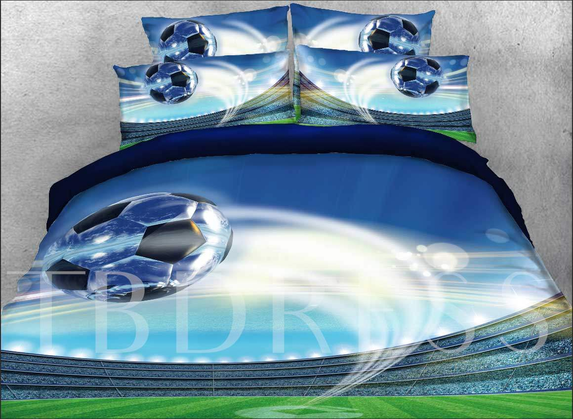 Flying Soccer Ball Printed Cotton 4-Piece 3D Bedding Sets/Duvet Covers