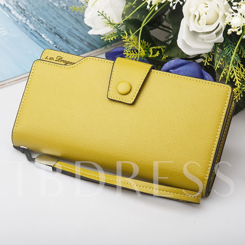 Solid Color Long Type Zipper Hasp Purse