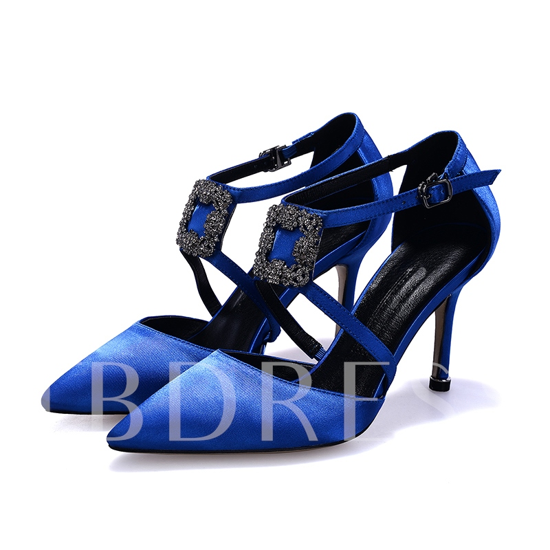 Silk Fabric Stiletto Heel Rhinestone Buckle Banquet Women's Prom Shoes