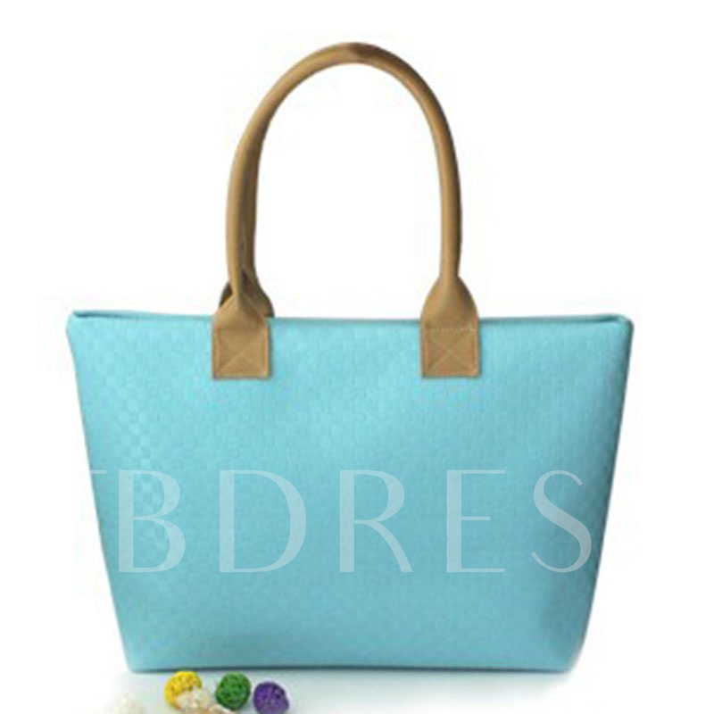 Simple Knitted Pattern Candy Color Tote Bag