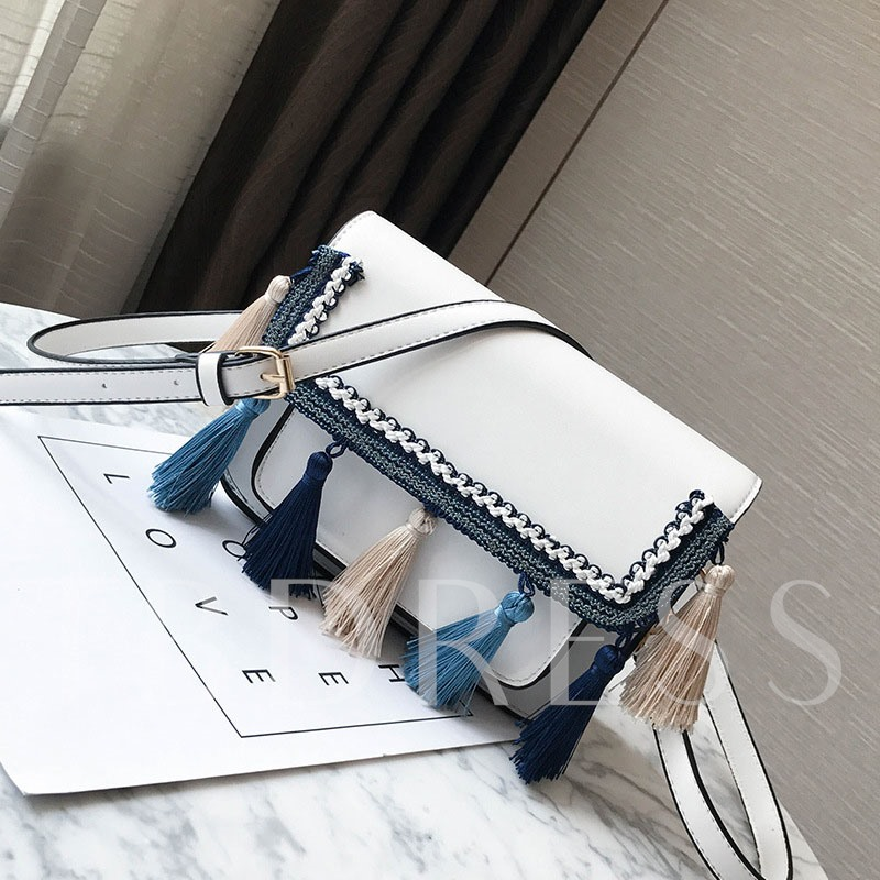 Stylish Patchwork Tassel Cross Body
