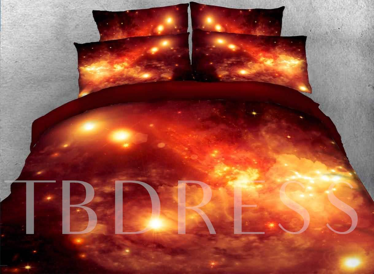 Nebula and Galaxy Printed Cotton 4-Piece Crimson 3D Bedding Sets/Duvet Covers