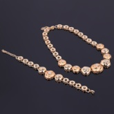 Rose Shaped Diamante Alloy Hollow Out Jewelry Sets