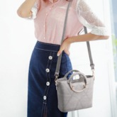 Elegent Circular Ring Handle Zipper Tote Bag