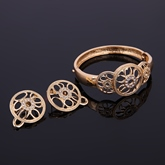 Circle Hollow Out Alloy Diamante Overgild Four Piece Jewelry Sets