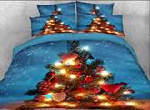 Christmas Tree Printed Cotton 4-Piece 3D White Bedding Sets/Duvet Covers