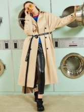 Lapel Double-Breasted Lace-Up Women's Trench Coat