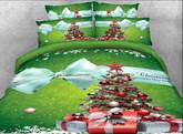 Christmas Landscape Gift Duvet Cover Set 3D 4 Piece Bedding Set