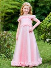 Off the Shoulder Flowers Girls Party Dress