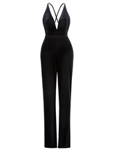 Black V-Neck Velvet Women's Jumpsuit