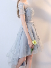 Short Sleeves A-Line Off-the-Shoulder Appliques Sashes Homecoming Dress