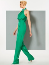 Sheath Halter Beaded Evening Jumpsuits