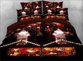 Christmas Floral 4-Piece 3D White Bedding Sets/Duvet Covers