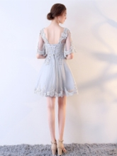 A-Line Half Sleeves Appliques Scoop Short Homecoming Dress