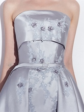 Strapless Appliques Beading Flowers Sashes Homecoming Dress