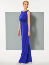 Scoop Sheath Beaded Sequins Floor-Length Evening Dress