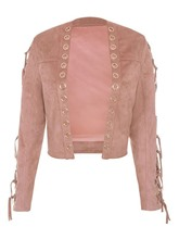 Hollow Lace-Up Plus Size Women's Jacket