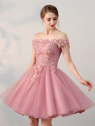 A-Line Off-the-Shoulder Appliques Beading Pearls Sashes Homecoming Dress
